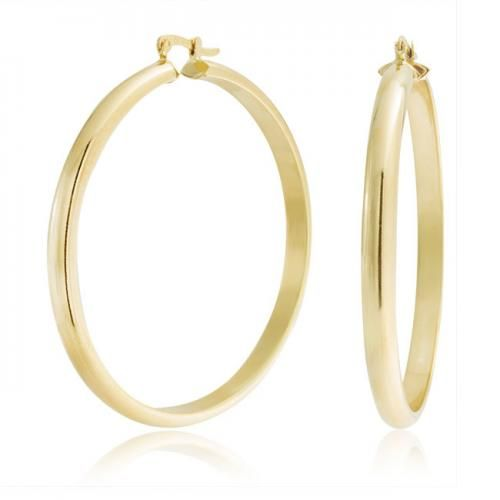Bling Jewelry Polished Gold Filled Half Tube Hoop Earrings 2 Inch