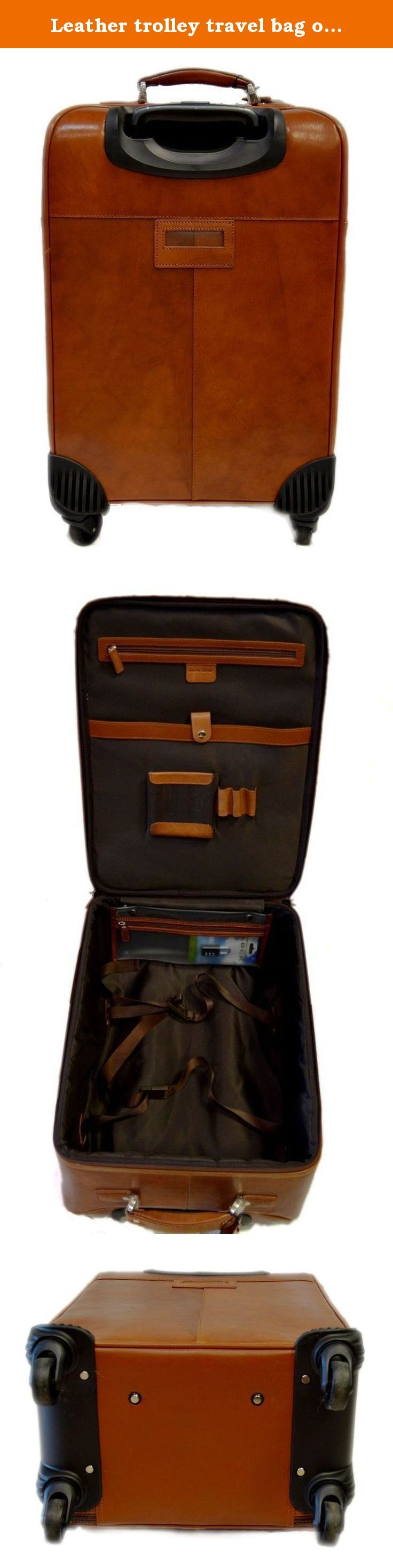 Leather trolley travel bag on 4 wheels weekender overnight light brown leather bag with leather cabin luggage airplane carryon airplane bag. Our handbags are manufactured 100% in Italy, handcrafted with the highest quality materials, to create a beautiful and durable product. Genuine Italian leather and fine detailing, make this an essential product to have, as good or better than any luxury item you will find in other stores. Our motto is: Made in Florence, Italy, shipped from Florence...