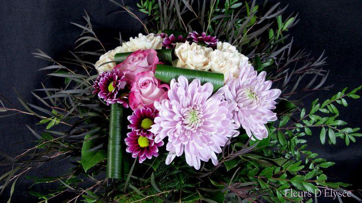 Bouquet de cremon, marguerite harlequins et roses blanches et roses