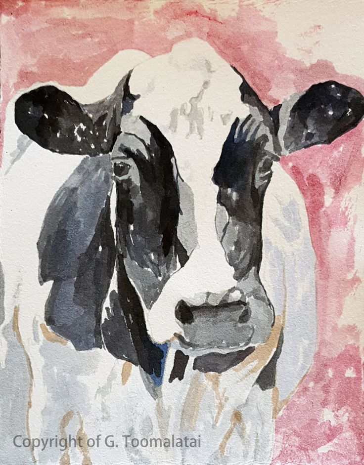 Cow print of original watercolor painting 8.5 x 11 paper size Holstein cow print Black and white cow print Cow decor Fine art print by GWENSART on Etsy