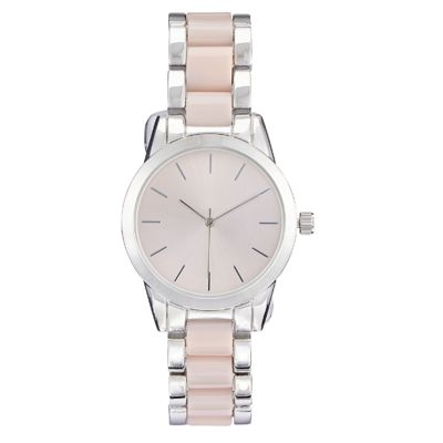 Give the gift of time with this Joe Fresh Ladies Rounded Silver CS with Pink and Silver Link Bracelet.