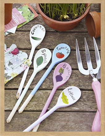 Get ready for the growing season by transforming inexpensive wooden spoons into these colourful garden labels. Easy to make, they're a practical and fun way to keep track of veg patch pickings!