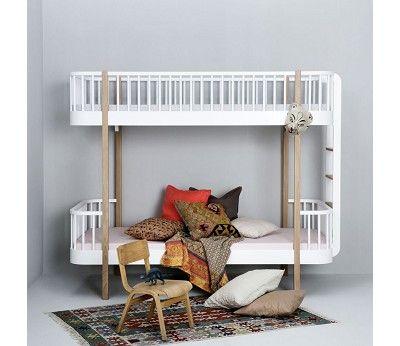Hvit/ eik køyeseng med gavelstige Oliver Furniture