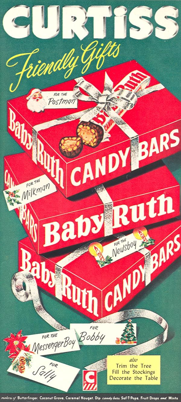vintage Christmas ad....Baby Ruth candy bars...1954...