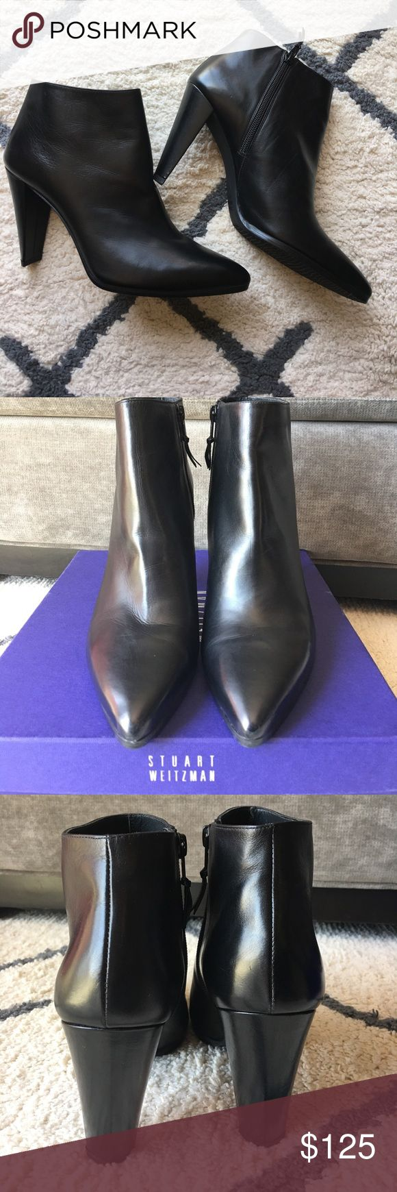 STUART WEITZMAN CARLTONE BLACK CLAF BOOTIES Brand new!! Never worn black ankle booties purchased at Neman Marcus.  Comes with box. Stuart Weitzman Shoes Heeled Boots