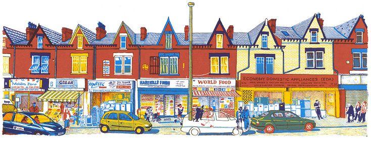 Harehills Lane, Leeds, screenprint by Simon Lewis