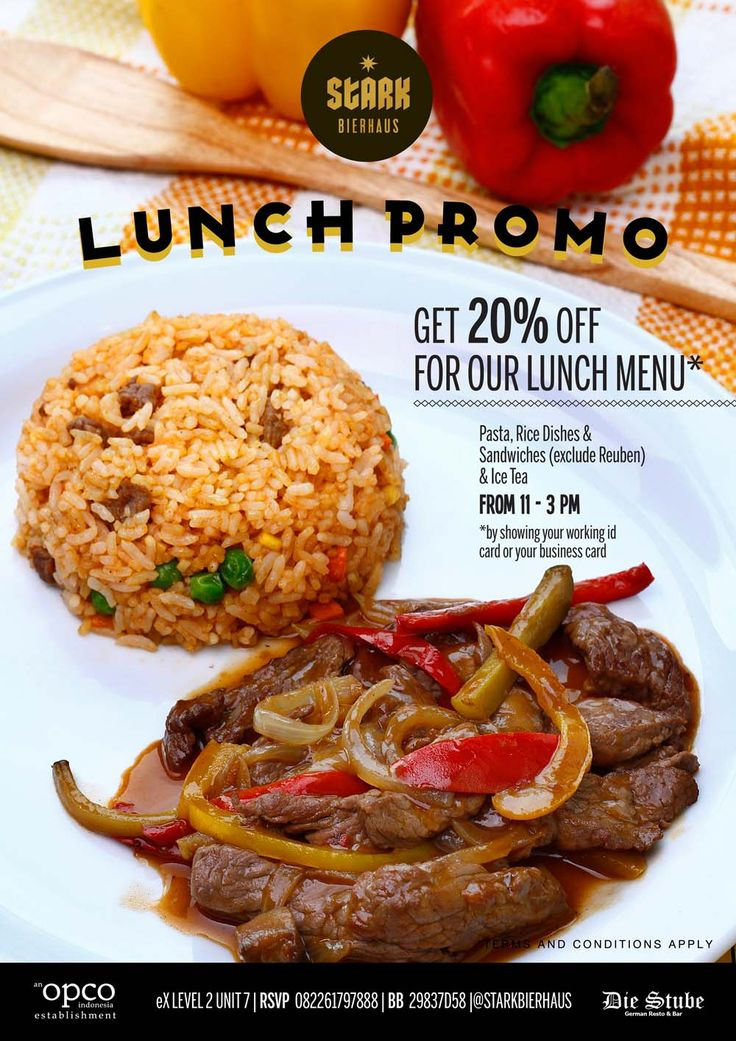 Get 20% off for our Lunch menu*, from 11 - 3 PM by showing your working ID card or giving us your business card at STARKBIERHAUS! Menu only: pasta, rice dishes and sandwich (exclude Reuben) and ice tea. RSVP at 082261797888