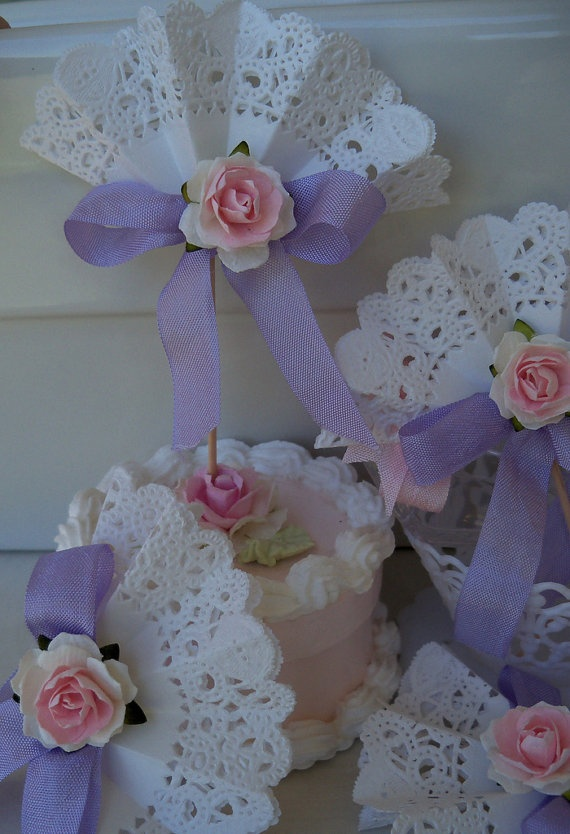 Pink and Lavender Lace Cupcake Toppers by JeanKnee on Etsy, $12.00