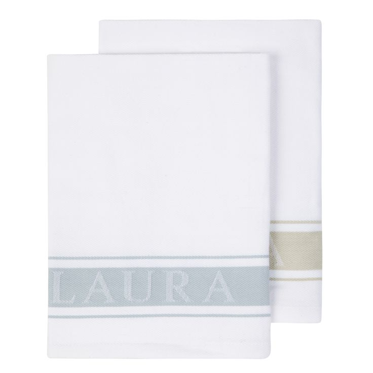 Pair of Laura Ashley Blue and Natural Tea Towels at Laura Ashley