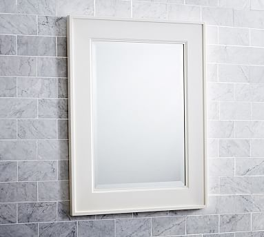 """Classic Mirror #potterybarn - 22.5"""" by 29.5"""" high (dimensions work well but a little boring).  Comes in dark stain, white or gray."""