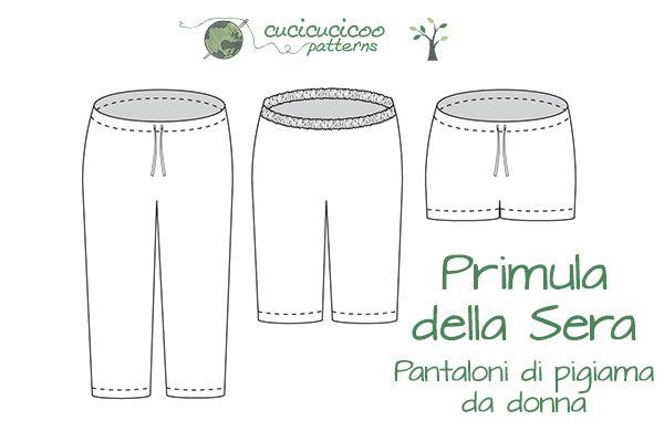 Cartamodello PDF: Primula della Sera Pantaloni di Pigiama da donna | Cucicucicoo Patterns | www.cucicucicoo.com