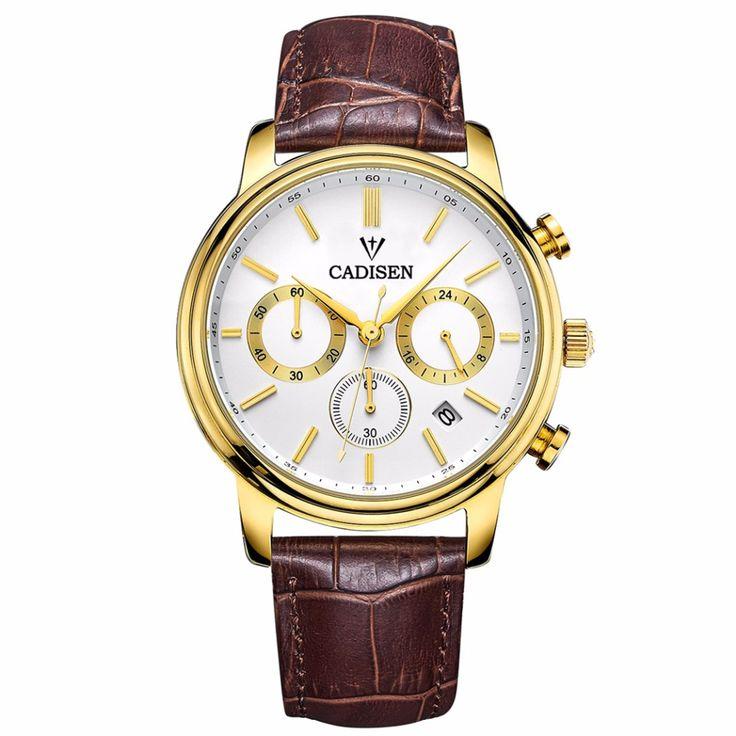 Aliexpress.com : Buy CADISEN Top Men Watches Luxury Brand Men's Quartz Hour Analog Chronograph Sports Watch Men gold  Wrist Watch Relogio Masculino from Reliable Quartz Watches suppliers on Sunday Watch Store