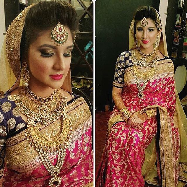 Such a beautiful bride with refreshing pick from #sabyasachi . We loved how #navinahmed did her makeover . Wanna see more of her . So far the best ❤️❤️❤️❤️. #sabyasachimukherjee #benarasi #bengaliwedding #bengalibride #dhaka #amazingwedding #bangladeshi . Reposted : navinahmed