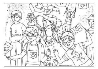 Canada Day Celebrations Colouring Page
