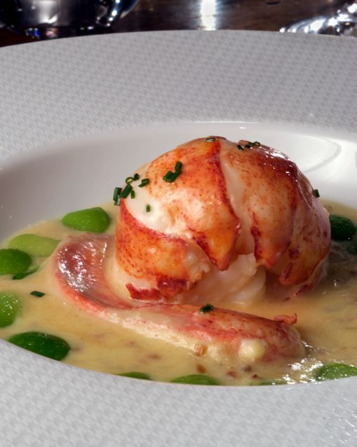 Lobster poached in butter.