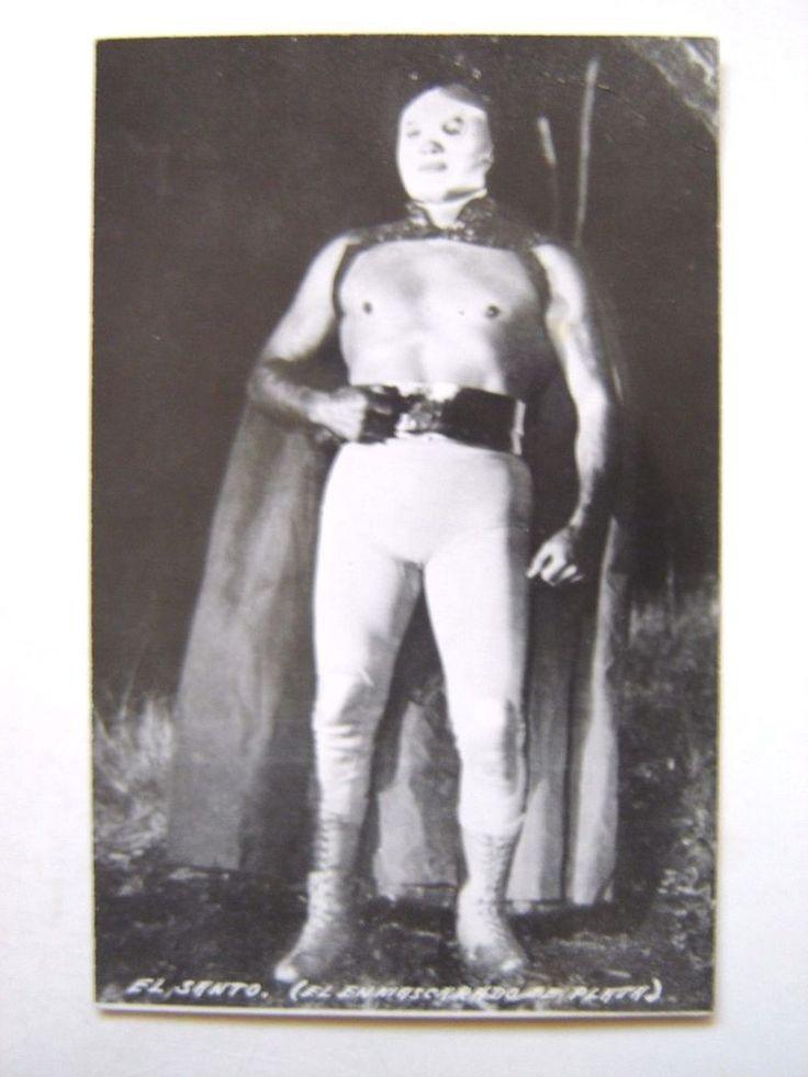 SANTO EL ENMASCARADO DE PLATA WRESTLING MEXICAN POSTCARD 1950's LUCHA LIBRE