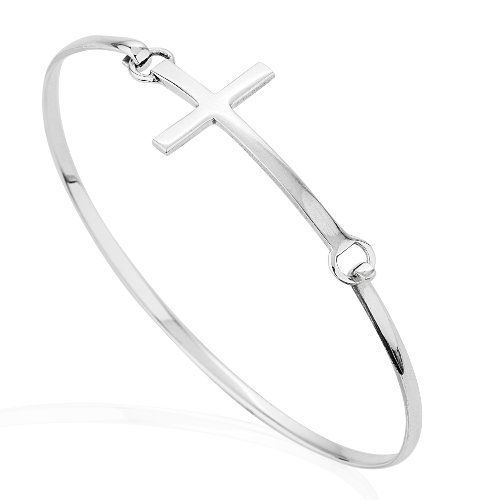 #deal 925 Sterling Silver Thin Line Cross Wrap Bangle Bracelet, Christian Jewelry for Women and Girls