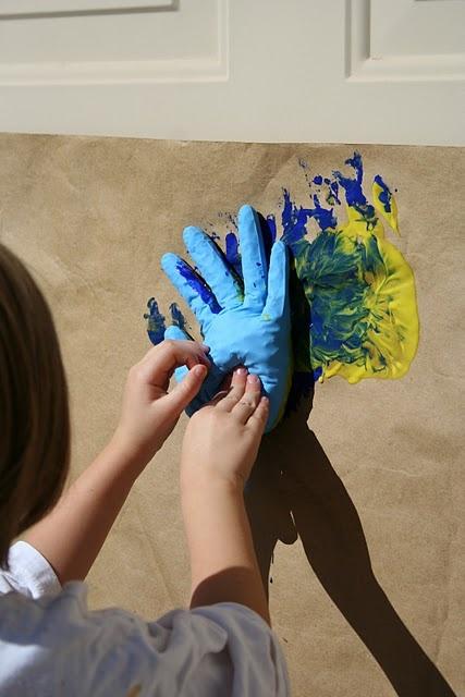 slap art with rubber gloves!