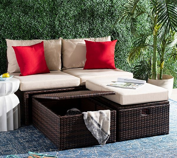 Telford Outdoor Set With Ottoman By Safavieh Qvc Com In 2020 Lounge Chair Outdoor Outdoor Furniture Sets Furniture