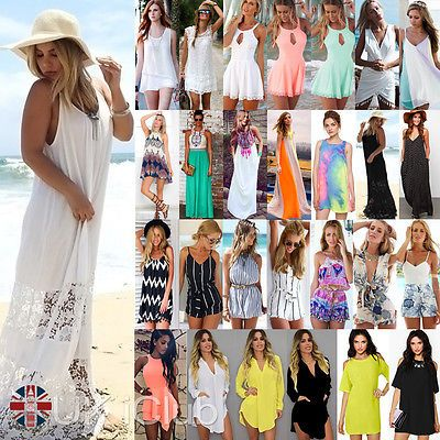 UK Womens Celeb Summer Boho Beach Sun Dress Kaftan Mini Playsuit Ladies Jumpsuit