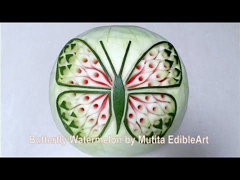 Butterfly Watermelon Design | Intermediate Lesson 36 | Mutita Edible Art Of Fruit Vegetable Carving - YouTube