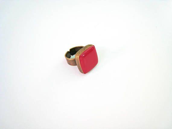 Dark Pink statement ring bronze fuchsia pink ring raspberry