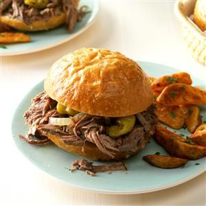 Favorite Italian Beef Sandwiches Recipe -I'm a paramedic/firefighter, and slow-cooked recipes like this one suit my unpredictable schedule. My husband and children and the hungry bunch at the firehouse love these robust sandwiches that have a little zip. —Kris Swihart, Perrysburg, Ohio