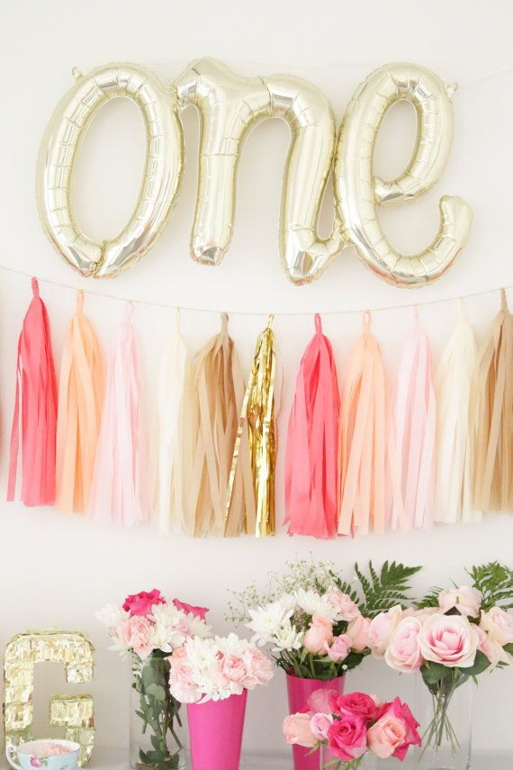 One Letter Balloons - Gold Mylar Balloon Letters, First Birthday Balloons, One Year Old Decor, One Banner, Gold 1st Birthday Decor