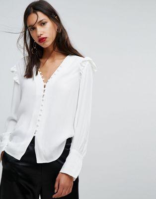 96612490ce76ac Mango Button Up Frill Blouse | kateneschke | Frill blouse, Blouse ...