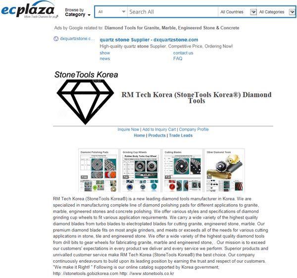 Diamond Tools; Polishing Pads, Grinding Cup Wheels & Blades made by RM Tech Korea (StoneTools Korea®) provides the highest quality;…