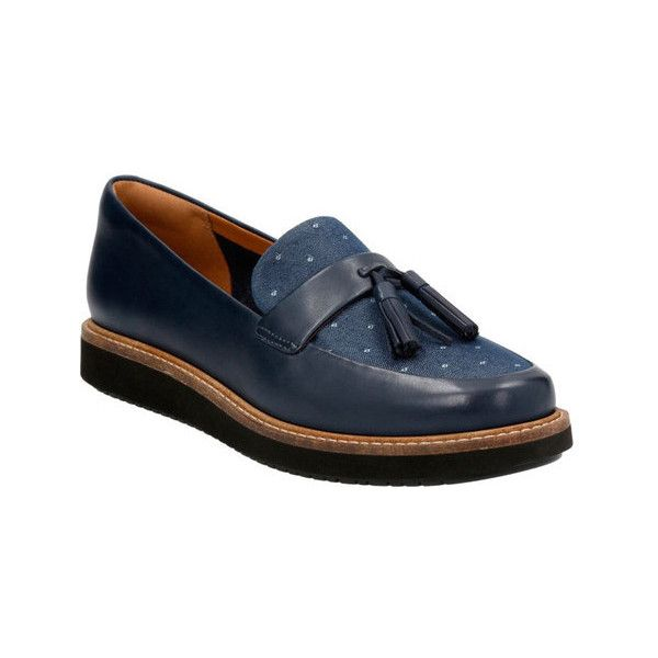 Women's Clarks Glick Castine Loafer (6.980 RUB) ❤ liked on Polyvore featuring shoes, loafers, casual, navy blue loafers, leather slip on shoes, leather shoes, slip-on loafers and navy loafers