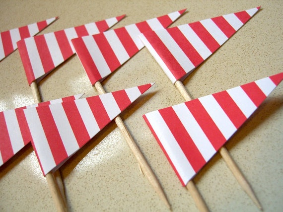 red & white striped flag