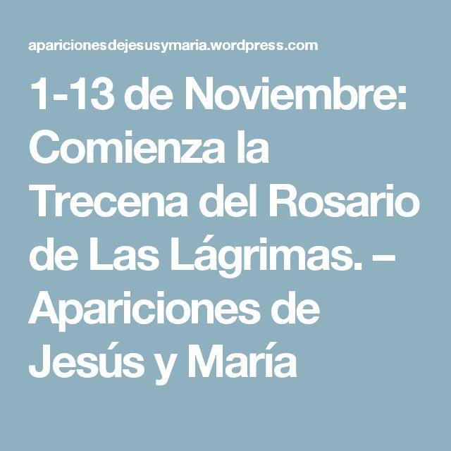 1-13 de Noviembre: Comienza la Trecena del Rosario de Las Lágrimas. – Apariciones de Jesús y María