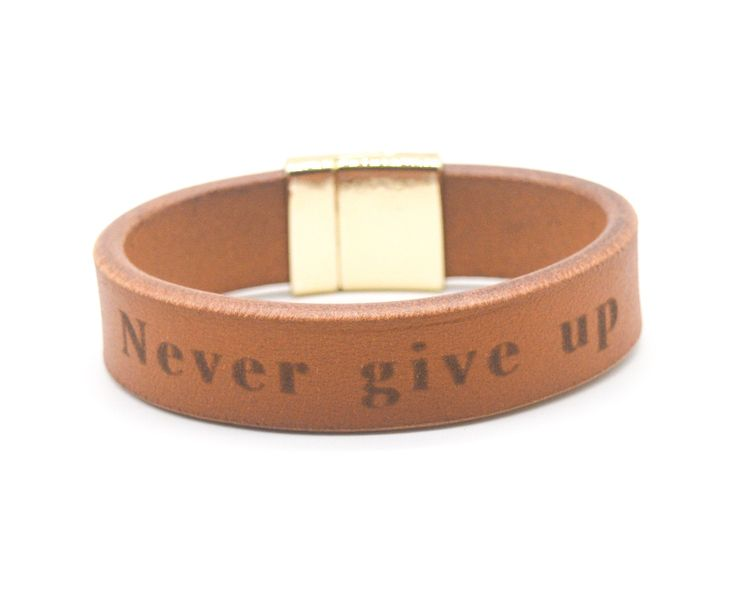 Never give up Bangle Leather Bracelet Gift For Boyfriend for Men Gift for Him Holiday Gift Boyfriend Bracelet Custom Text Jewelry Bracelet
