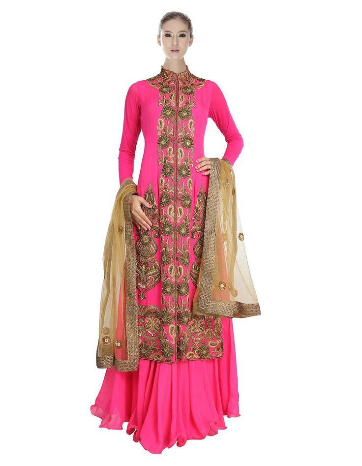 Georgette Machine Work Pink Semi Stitched Long Anarkali Suit - 85