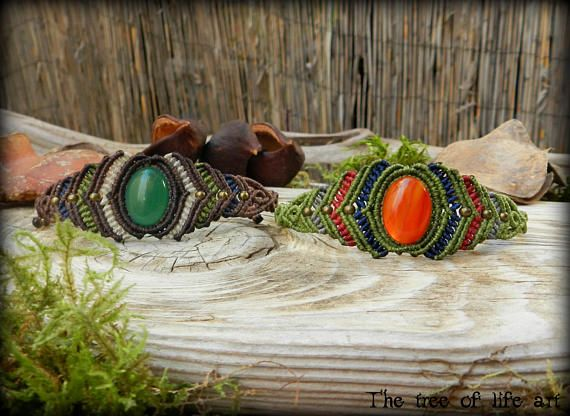 Macrame bracelets with Red & Green Agate stones/Yoga