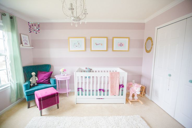 Purple and Mauve Striped Nursery with Teal Accents: Purple Stripes, Stripes Wall, Stripes Nurseries, Mauve Nurseries, Projects Nurseries, Baby Girls, Baby Rooms, Girls Nurseries, Accent Wall