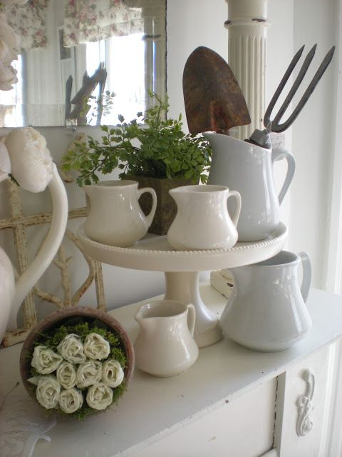 a way to display my little pitchers...Decor, Fireplaces Mantels, Mantels Vignettes, Shabby Chic, Gardening Tools, Spring Mantels, Shabby Moments, White Ironstone, White Pitcher