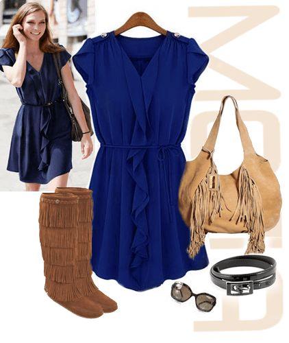Свободного покроя платье с коричневой сумкой и сапогами