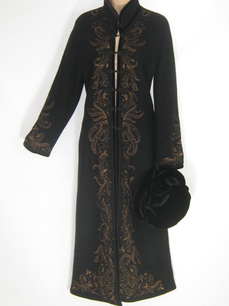 LAURA ASHLEY BLACK ORIENTAL STYLE BRONZE EMBROIDERED EVENING WOOL COAT,14 - BNWT