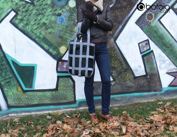 grey hand street bag with eco bag inside version www.botoia.com