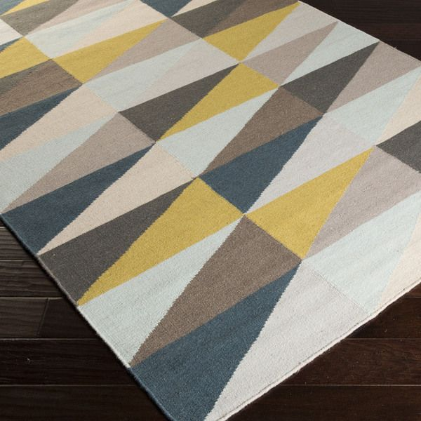 frontier triangle flat weave rug in mustard and taupe by surya