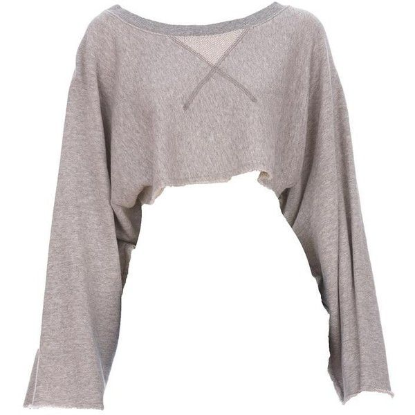 AIKO Melle Cropped Sweatshirt (415 BRL) ❤ liked on Polyvore featuring tops, hoodies, sweatshirts, shirts, sweaters, crop tops, women, kimono sleeve top, grey shirt and crop top
