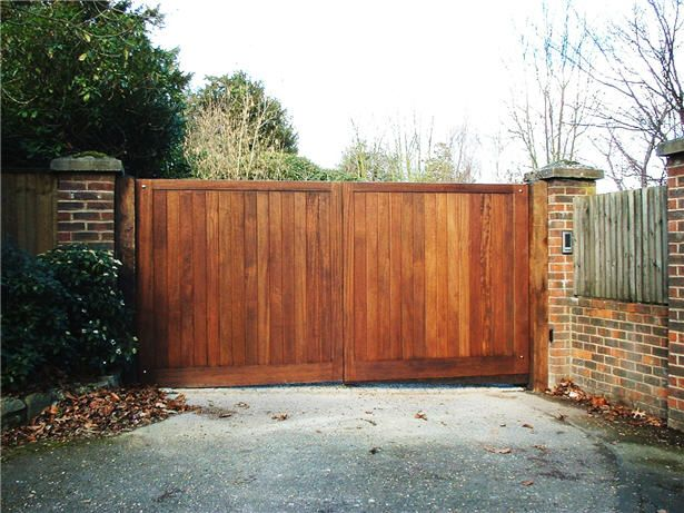 Wooden Driveway Gates | These hardwood electric driveway gates were erected at a site near ...
