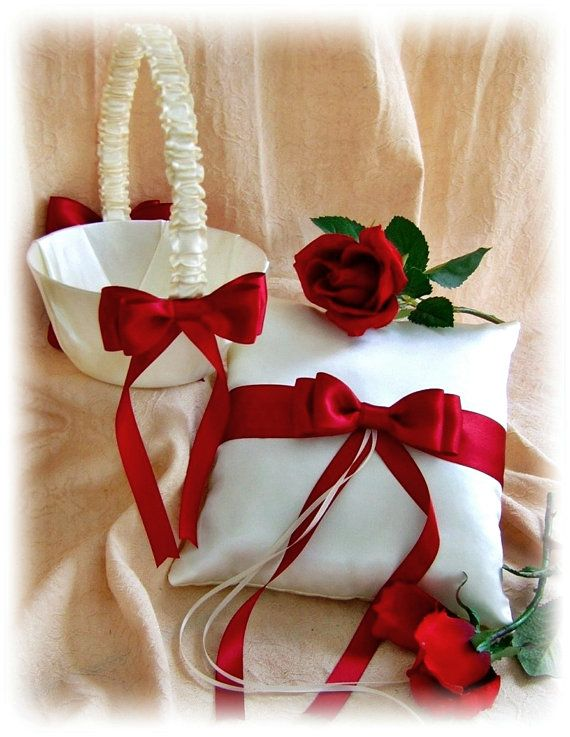 Red and White Wedding Flower Girl Basket and Ring by All4Brides, $55.00