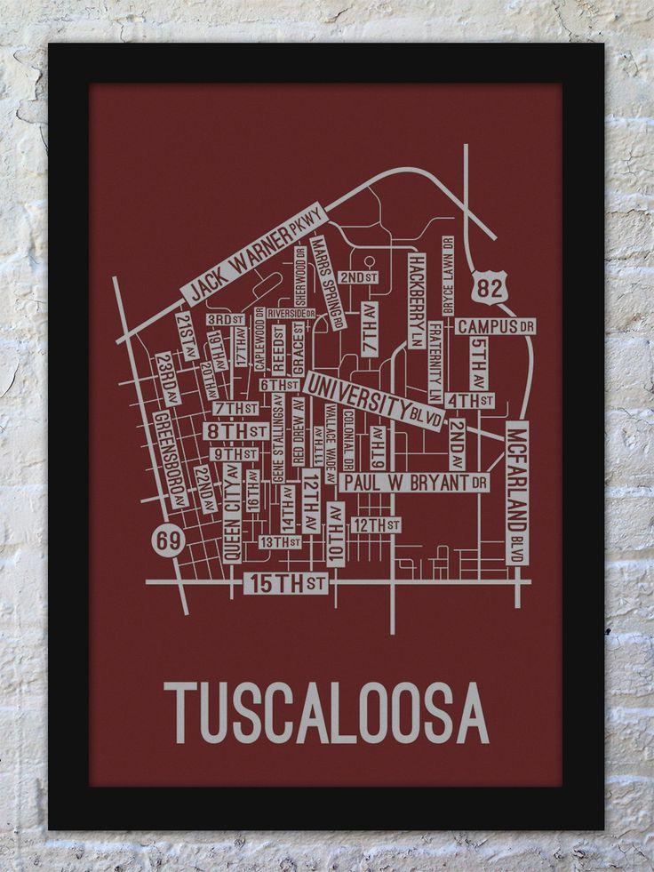 Tuscaloosa, Alabama Street Map Print
