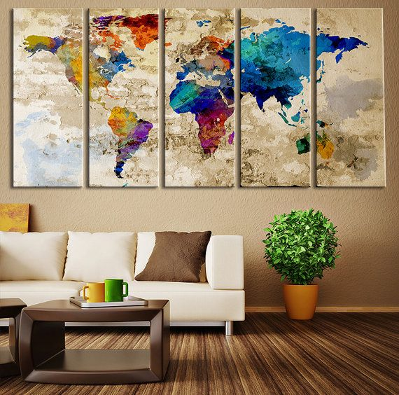 push pin travel world map art colored countries watercolor world map canvas art countries world map art print no038 - Wall Decorations