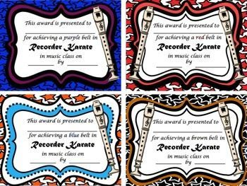RECORDER KARATE CERTIFICATES - TeachersPayTeachers.com