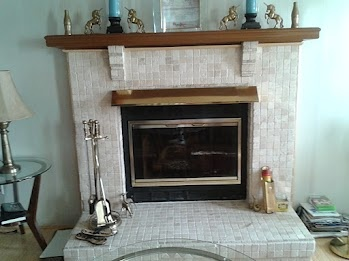 Red brick fireplace covered with stone tile for the home - Covering brick fireplace with tile ...