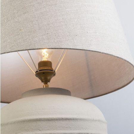 Tischleuchte Arta S Concrete mit Schirm 50cm Leinen naturfarben: #tischleuchte #modern #vintage #innenbeleuchtung #lampen #leuchten
